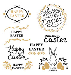easter decorative greeting icon set vector image