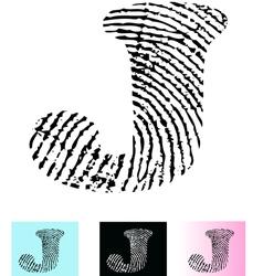 Fingerprint Alphabet Letter J vector