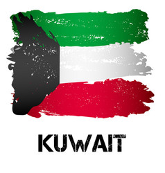 Flag of kuwait from brush strokes vector
