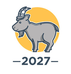 goat symbol chinese new year 2027 isolated vector image