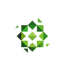 Green cross herbs logotype octagonal star vector