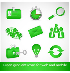 Green gradient icons for web applications and vector image