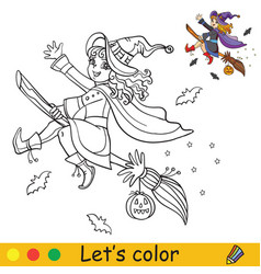 halloween coloring with colored example cute witch vector image