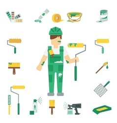 House Painter Flat Set vector image