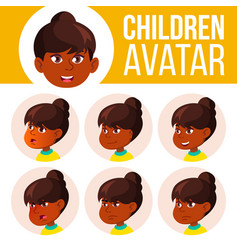 indian girl avatar set kid primary school vector image