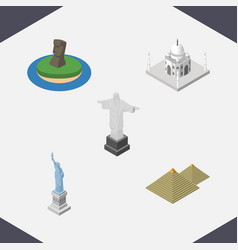 isometric architecture set of egypt india mosque vector image
