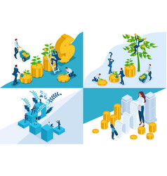 Isometric concepts investment deposit storage vector