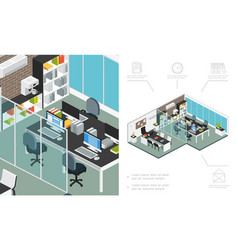 isometric office workspace concept vector image