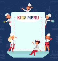Kids cooking background little chef children vector