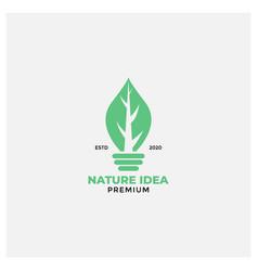 Leaf idea lamp green logo design nature vector