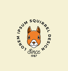 line style squirrel face with retro typography vector image
