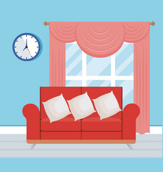 Living room place with sofa vector