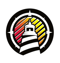 logo lighthouse in circle vector image