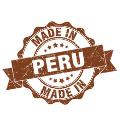 Made in peru round seal vector