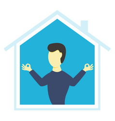 man stays calm and stays at home coronavirus vector image
