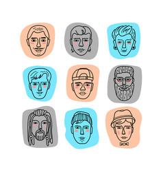 mans faces doodle portraits men funny vector image