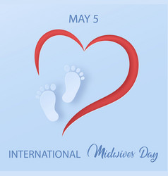 Midwives day 5 may baby feet silhouette on red vector