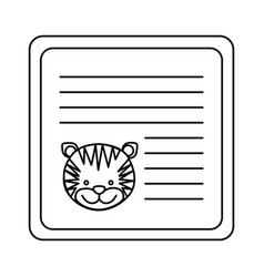 Monochrome card with male tiger head vector