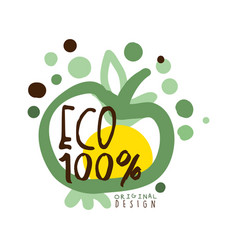One hundred percent eco label original design vector