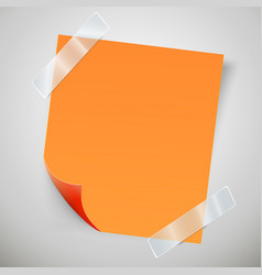 orange sticky note with the curled corner and vector image