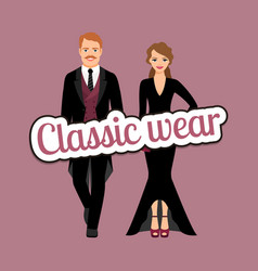 people in classic evening fashion outfit vector image
