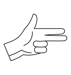 pistol hand sign icon outline style vector image