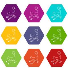 playful monkey icons set 9 vector image