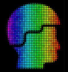 Rainbow dot soldier helmet icon vector