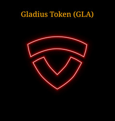 Red neon gladius token gla cryptocurrency symbol vector