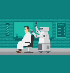 Robot hairdresser making haircut to a man vector