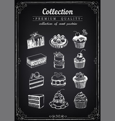 Set hand-drawn icons pastries collection of vector