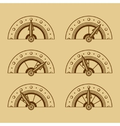 set indicators in retro style vector image