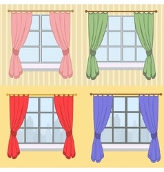 Set of curtains with different colors vector image