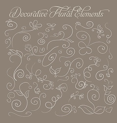 Set of decorative floral elements hand-drawn on a vector