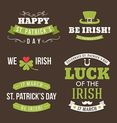 Set of St Patricks Day typographic design elements vector