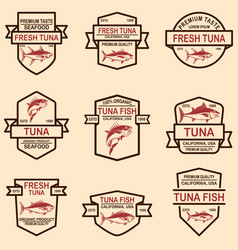 Set of tuna fish labels design element for logo vector