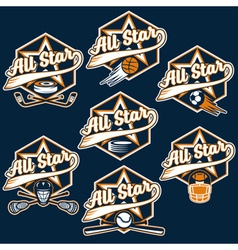Set of vintage sports all star crests vector