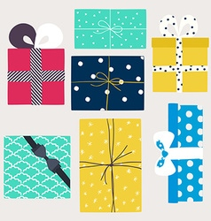 set with gift boxes in crafting paper vector image vector image