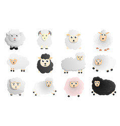 sheep icon set cartoon style vector image