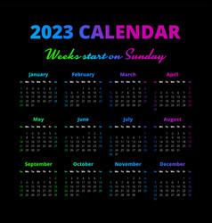 Simple 2023 year calendar weeks start on sunday vector
