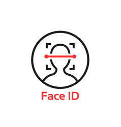 Simple thin line face id scan logo vector