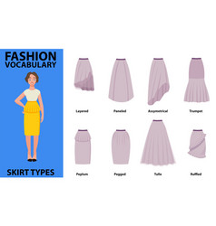 Skirt vocabulary collections of standard classic vector