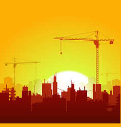 Sunrise cranes and construction background vector