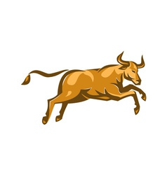 texas longhorn bull jumping side retro vector image