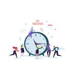 Time management concept flat characters vector