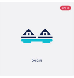 Two color onigiri icon from hotel and restaurant vector