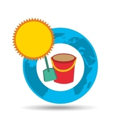 Vacation around world sunny sand bucket vector