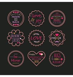 valentines day line emblem set on black background vector image