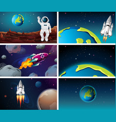 Various space scenes with earth vector