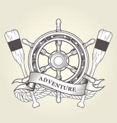 Vintage steering wheel and oars - nautical emblem vector